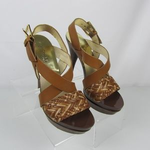 Michael Kors Lt. Brown High Heel Sandals Leather 8